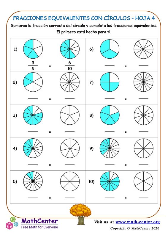 Fracciones Equivalentes Con Círculos Hoja 4