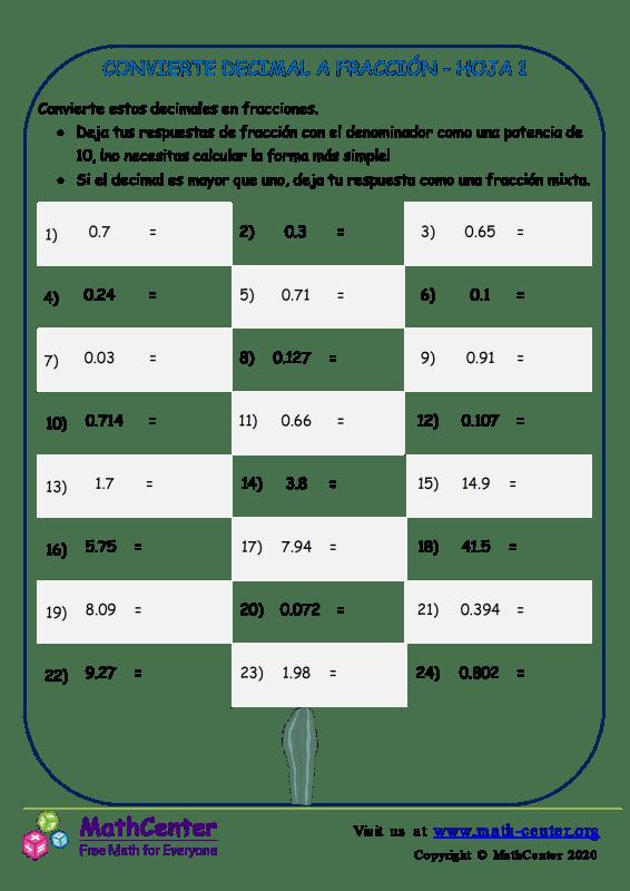 Convierte Decimal A Fracción Hoja 1