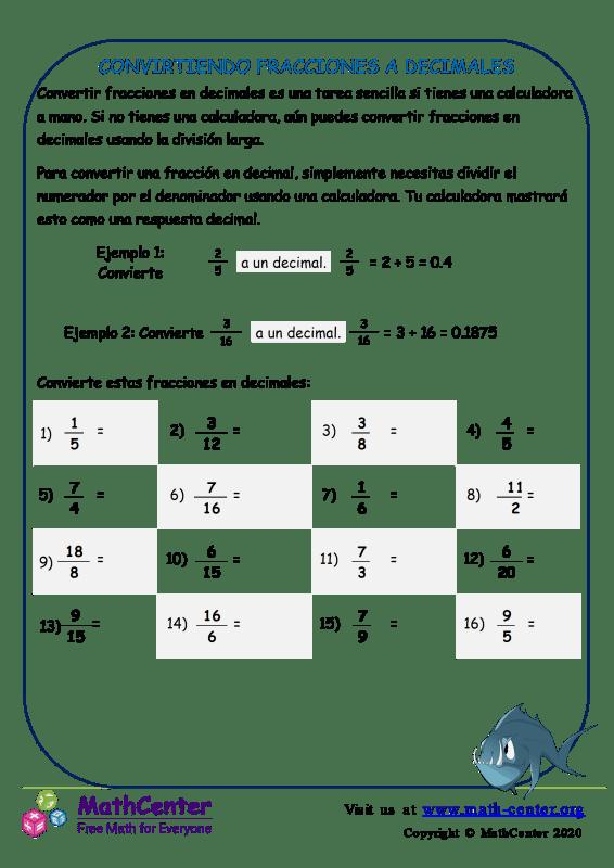 Conversión de fracciones a decimales - Hoja de trabajo