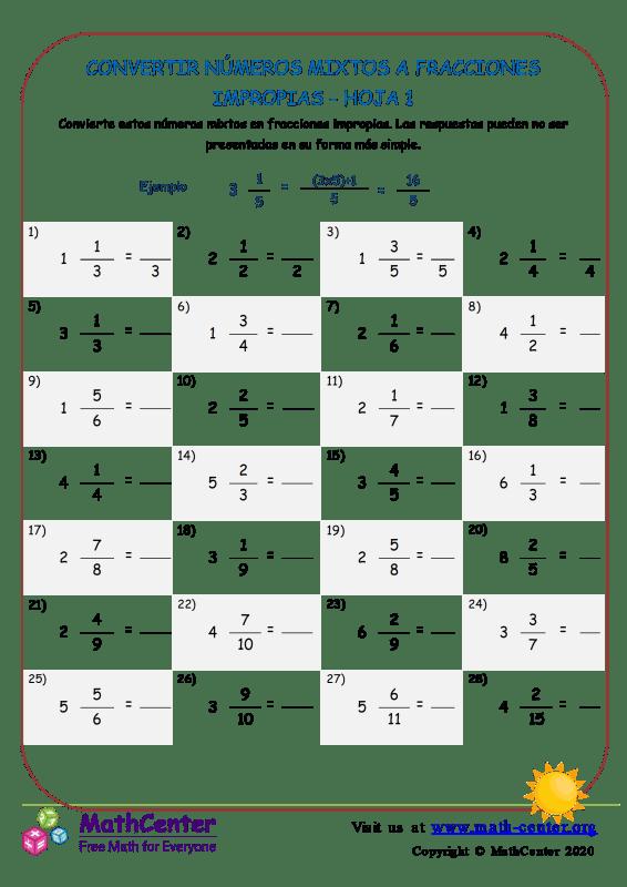 Convertir números mixtos en fracciones impropias - Hoja 1