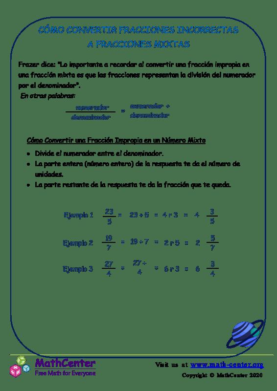 Cómo convertir fracciones impropias en fracciones mixtas