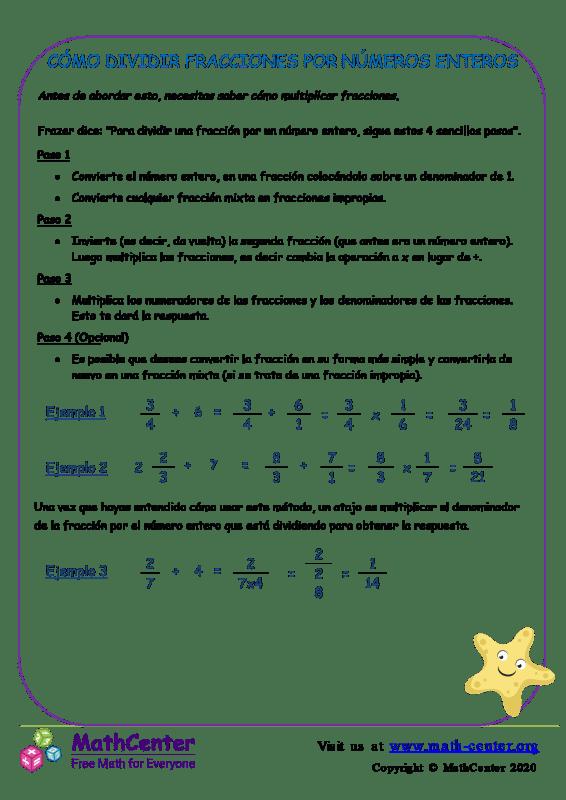 Cómo Dividir Fracciones Por Números Enteros