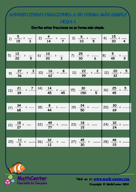 Conversión de fracciones a la forma más simple - Hoja 1