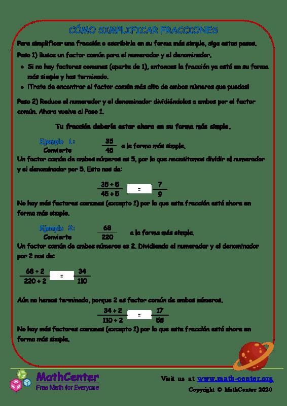 Cómo Simplificar Fracciones