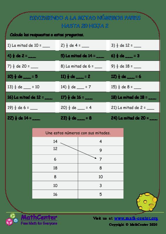 Dividiendo A La Mitad Números Pares Hasta 20 Hoja 2