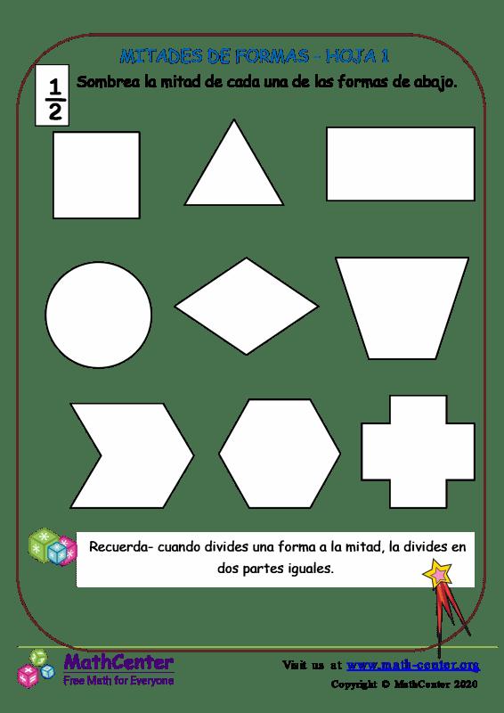Mitades de formas - Hoja 1