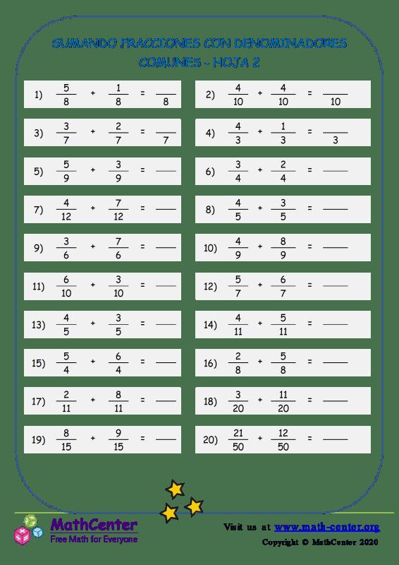 Sumar fracciones (denominadores comunes) - Hoja 2