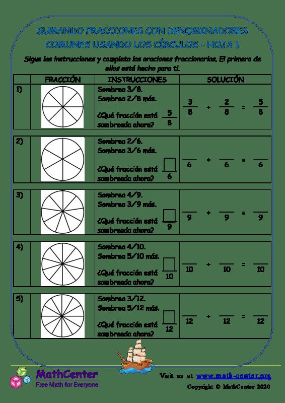 Sumar fracciones con denominadores comunes (círculos)- Hoja 1