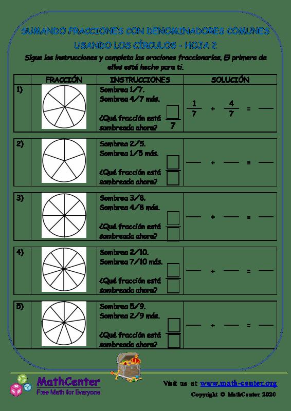 Sumar fracciones con denominadores comunes (círculos)- Hoja 2