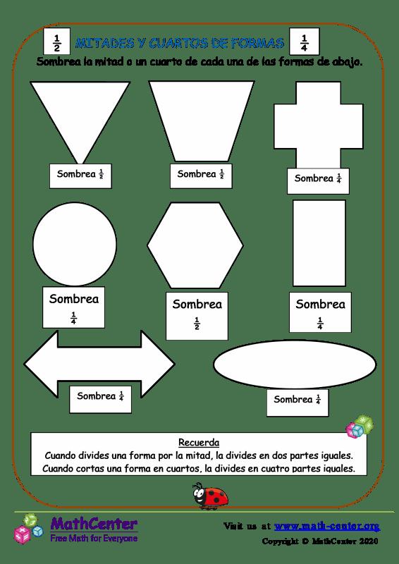 Mitades y cuartos de formas