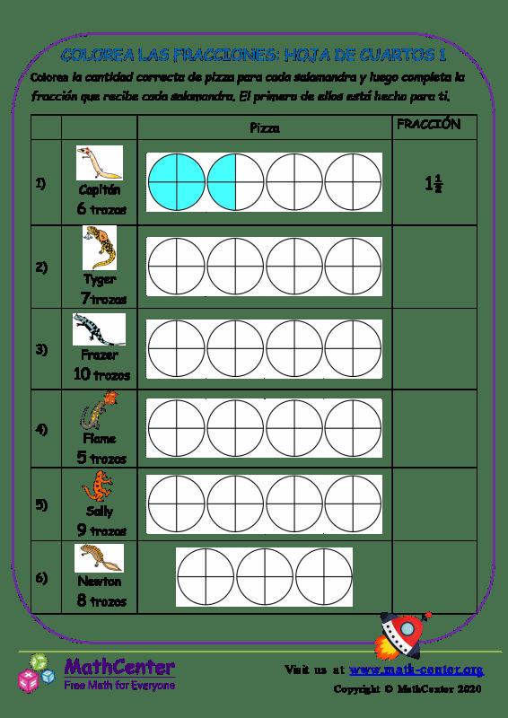 Colorea Las Fracciones: Hoja De Cuartos 1