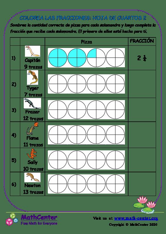 Colorea Las Fracciones: Hoja De Cuartos 2