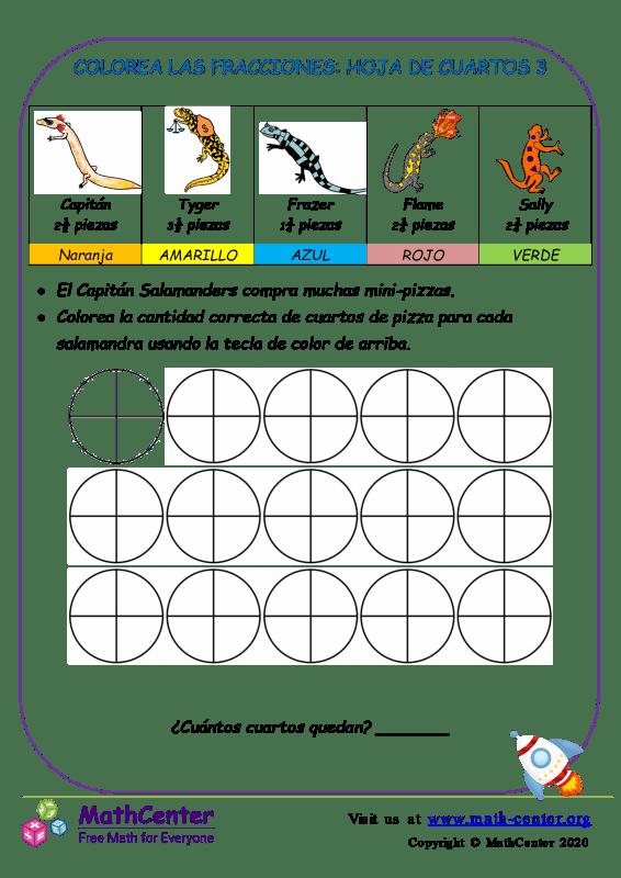Colorea Las Fracciones: Hoja De Cuartos 3
