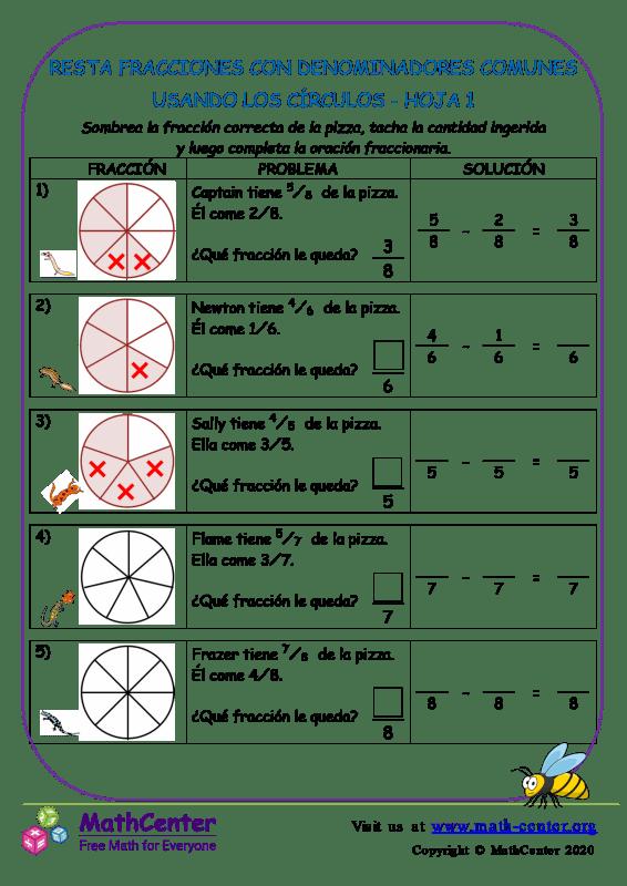 Restar fracciones con comunes denominadores (Círculos) - Hoja 1