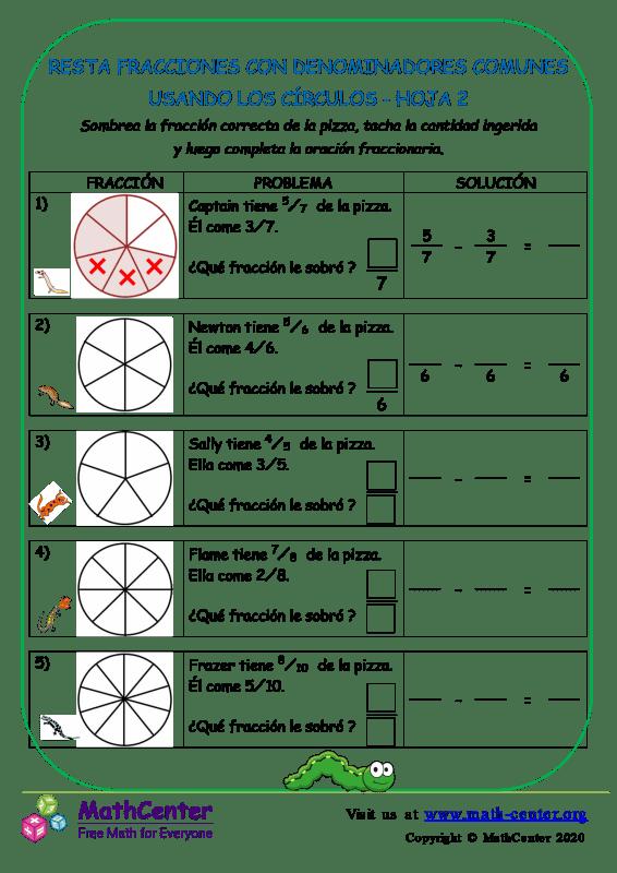 Restar fracciones con comunes denominadores (Círculos) - Hoja 2
