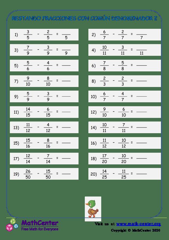 Restar fracciones con comunes denominadores - Hoja 2