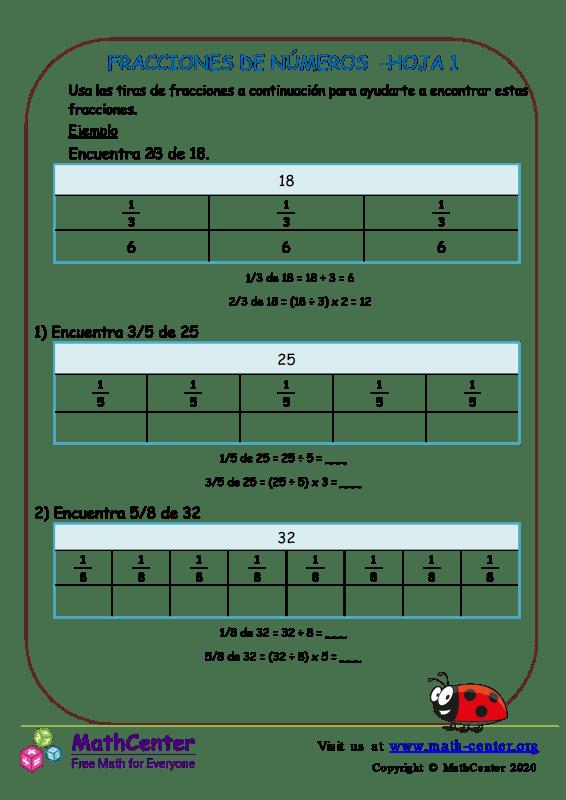 Fracciones De Números Hoja 1
