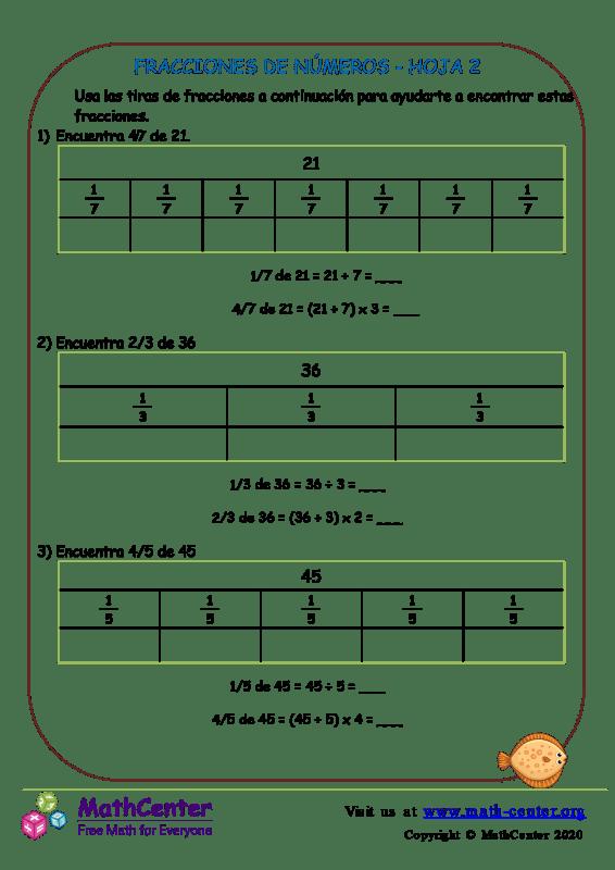 Fracciones De Números Hoja 2