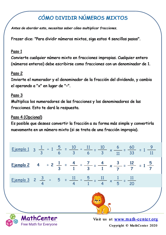 Cómo Dividir Números Mixtos