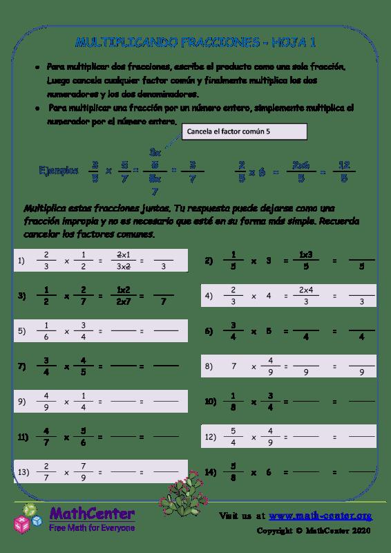 Multiplicando Fracciones Hoja 1