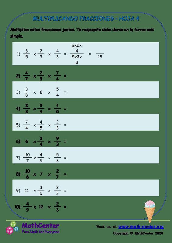Multiplicando Fracciones Hoja 4