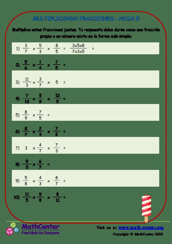 Multiplicando Fracciones Hoja 5