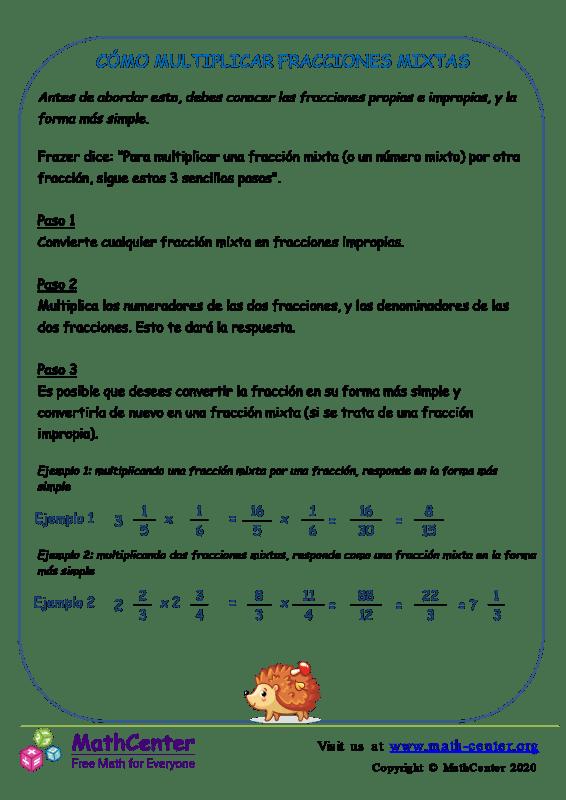 Cómo Multiplicar Fracciones Mixtas