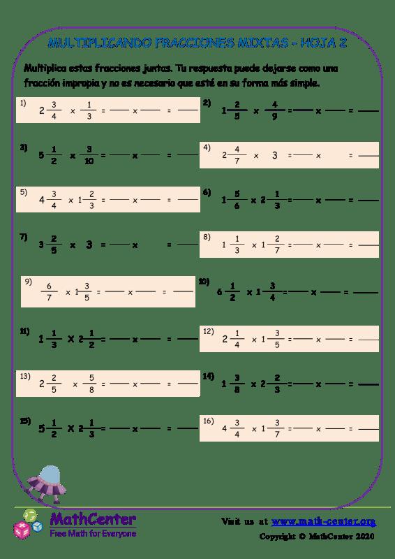 Multiplicando Fracciones Mixtas Hoja 2