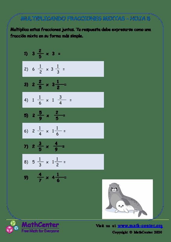 Multiplicando Fracciones Mixtas Hoja 8