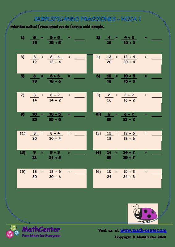 Simplificando Fracciones Hoja 1
