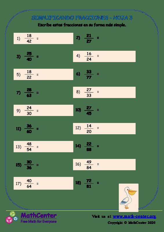 Simplificando Fracciones Hoja 3