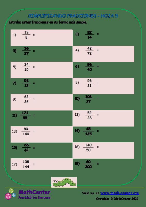 Simplificando Fracciones Hoja 5