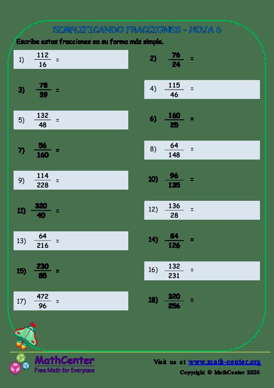 Simplificando Fracciones Hoja 6
