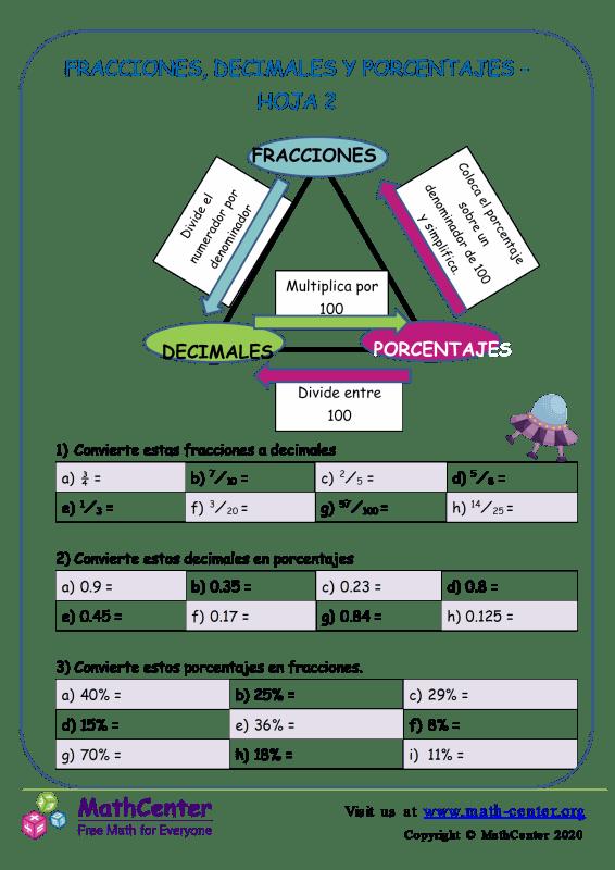 Fracciones, Decimales Y Porcentajes Hoja 2