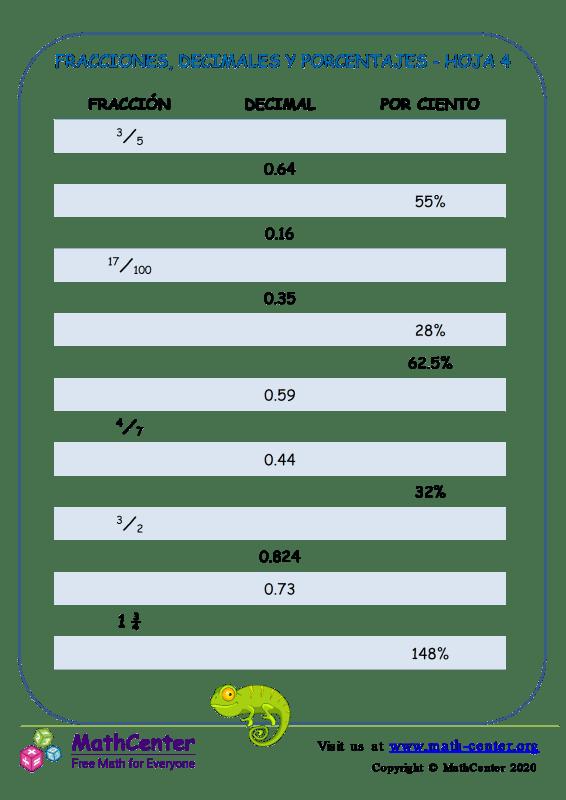 Fracciones, Decimales Y Porcentajes Hoja 4