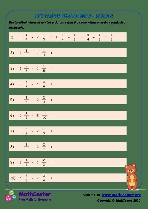Restando Fracciones Hoja 8