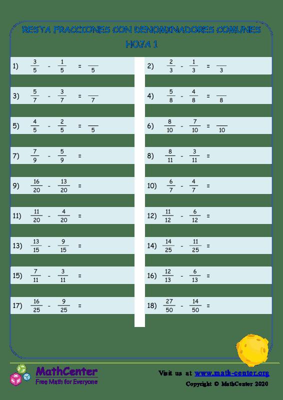 Restar fracciones con comunes denominadores - Hoja 1A