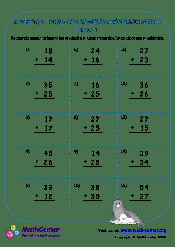 2 Dígito - Suma Con Reagrupación (Unidades) - Hoja 1