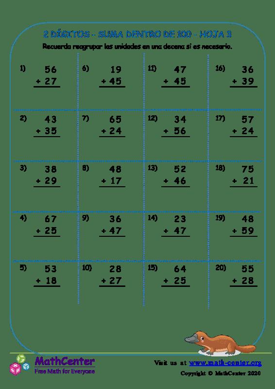 2 Dígito - Suma Dentro De 100 - Hoja 3
