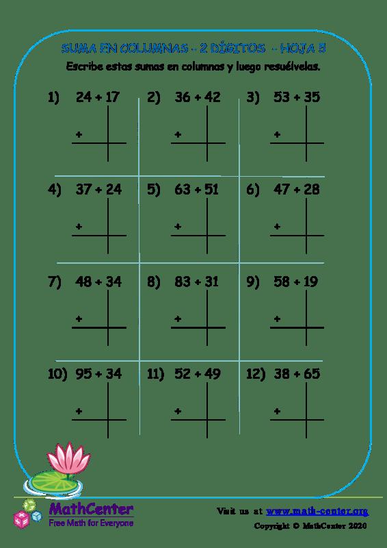 Suma En Columna 2 Dígitos Hoja 5