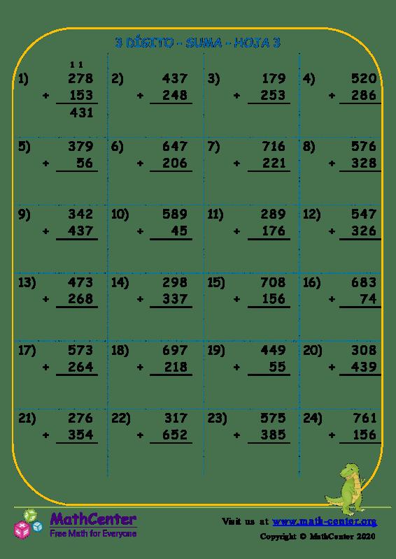 3 Dígito - Suma - Hoja 3