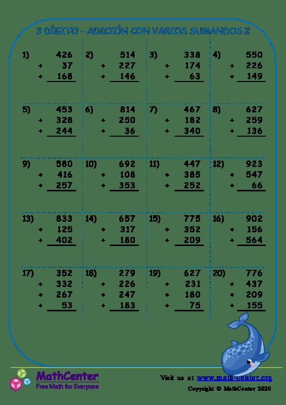 3 Dígito - Adición Con Varios Sumandos 2