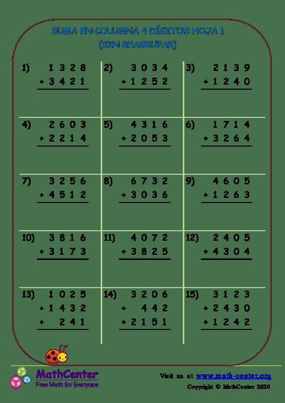 Suma de columnas 4 dígitos (sin reagrupar) - Hoja 1