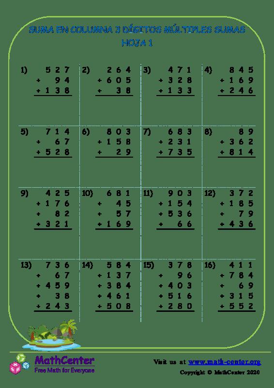 Suma En Columna 3 Dígitos Múltiples Sumas Hoja 1