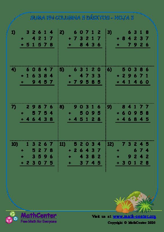 Suma En Columna 5 Dígitos Hoja 3