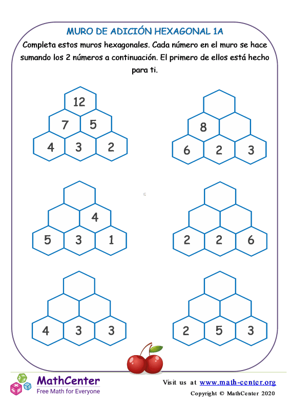 Muro de sumas hexagonal - Hoja 1 A