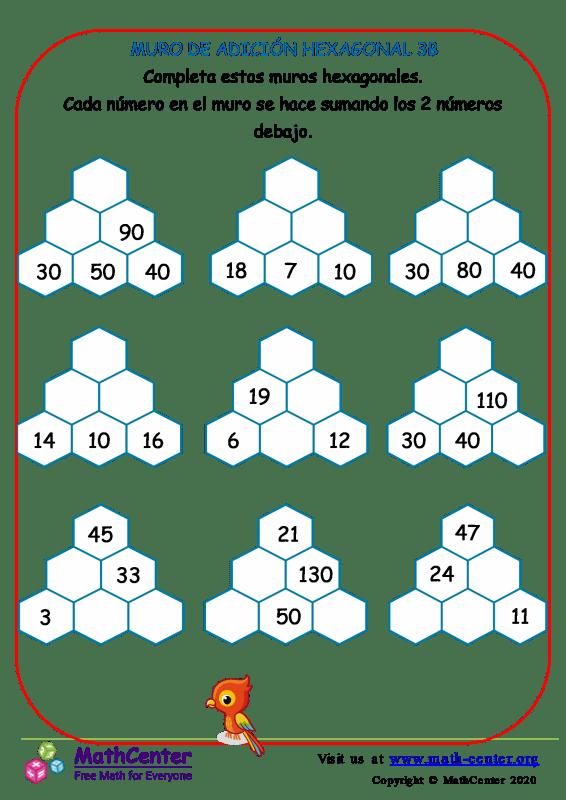 Muro de sumas hexagonal - Hoja 3 B
