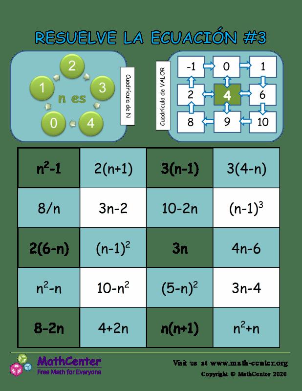 Resuelve el juego de ecuaciones # 3