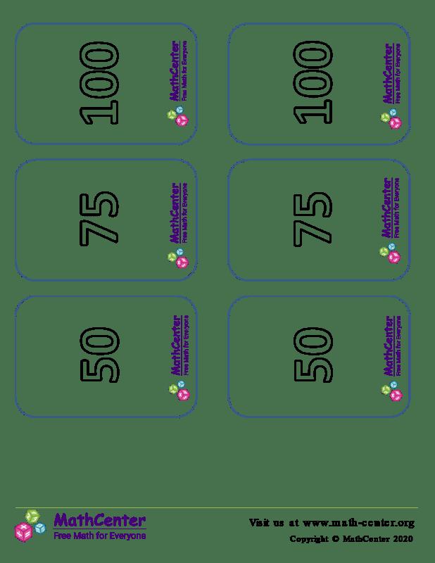 Tarjetas de dígitos múltiplos de 25