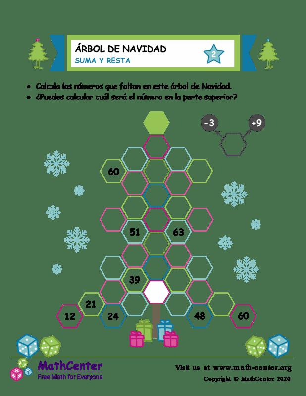 Suma y resta en árboles de Navidad - Hoja 2
